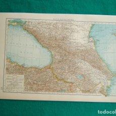 Arte: MAPA DE LOS PAISES DEL CAUCASO-MAR NEGRO Y CASPIO-KAUKASUSLANDER-BAKU-SAMSUN-1899. . Lote 185895457