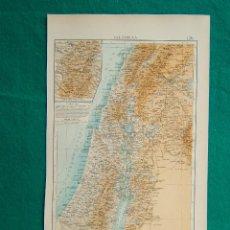 Arte: MAPA DE PALESTINA-ISRAEL-MAR MUERTO-GALILEA-JERUSALEN-JAFA-GAZA-BELEN-JERICO-SAMARIA-JUDEA-1899. . Lote 185895770