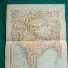 Arte: MAPA DE ASIA-INDIA-CEILAN-BIRMANIA-AFGHANISTAN-TIBET-HIMALYA-BHUTAN-PERSIA-GOLFO PERSICO-1899. . Lote 185897160