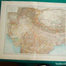 Arte: MAPA DE INDIA NORTE-TIBET-BHUTAN-NEPAL-CALCUTA-HIMALAYA-EVEREST-GOLFO BENGALA-CACHEMIRA-1899.. Lote 185897691