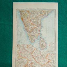 Arte: MAPA SUR DE INDIA-CEYLAN-SRI LANKA-PROVINCIAS DEL NOROESTE-BENARES-SITAPUR-AGRA-MADRAS-1899. . Lote 185898172
