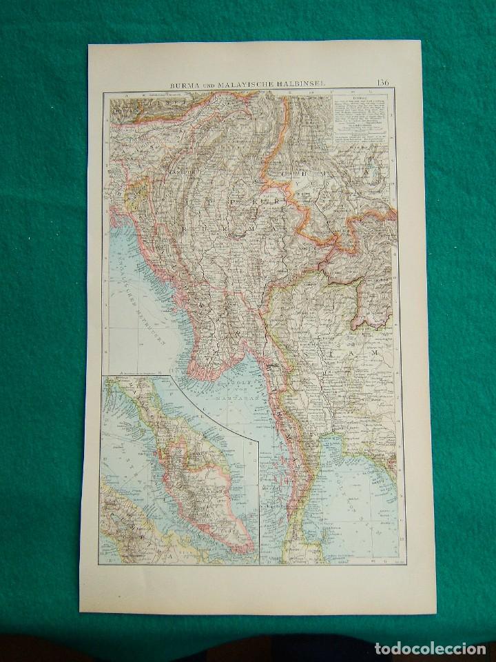 MAPA DE BURMA Y PENINSULA MALAYA-BIRMANIA-MALACA-SUMATRA-SIAM-CHINA-TIBET-GOLFO DE BENGALA-1899. (Arte - Cartografía Antigua (hasta S. XIX))