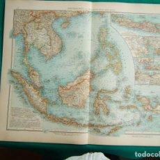 Arte: MAPA DEL ARCHIPIELAGO MALAYO-CHINA-VIETNAN-FILIPINAS-BORNEO-NUEVA GUINEA-MAPA JAPON-COREA-1899. . Lote 185899245