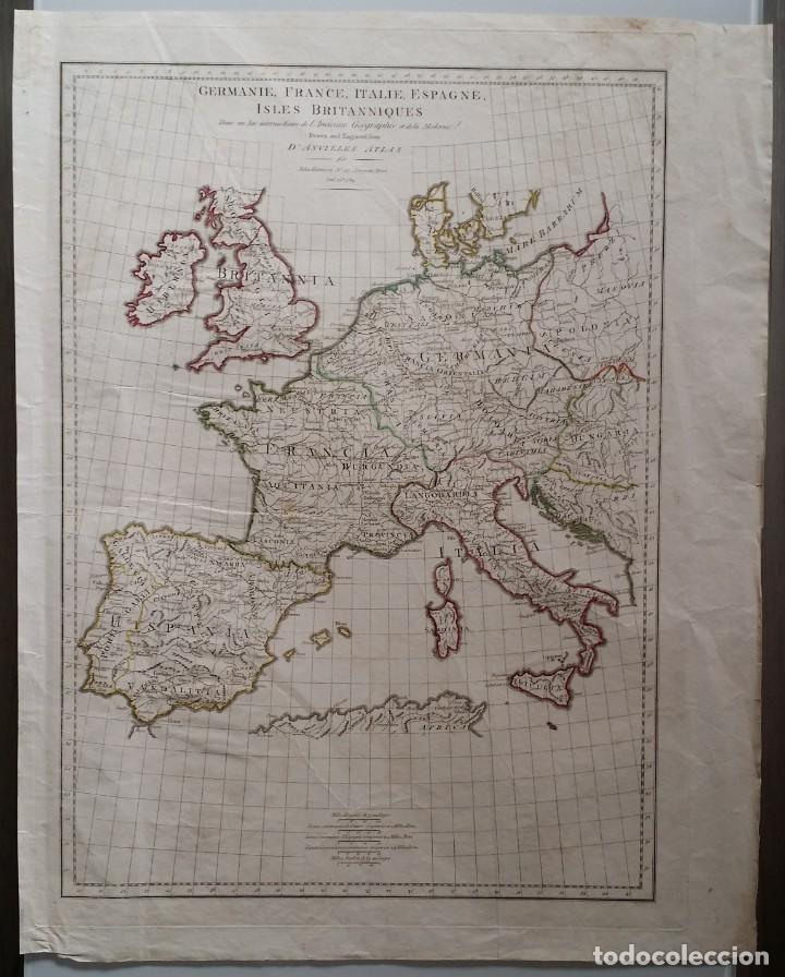 MAPAS, ESPAÑA, BRITANIA, GERMANIA... D ANVILLE, PARÍS, 1789 (Arte - Cartografía Antigua (hasta S. XIX))