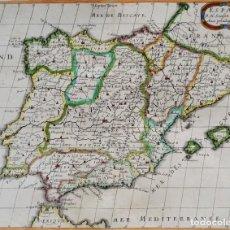 Arte: ESPAÑA Y PORTUGAL, MAPA POR N. SANSON, 1667, ESPAGNE. Lote 185966932