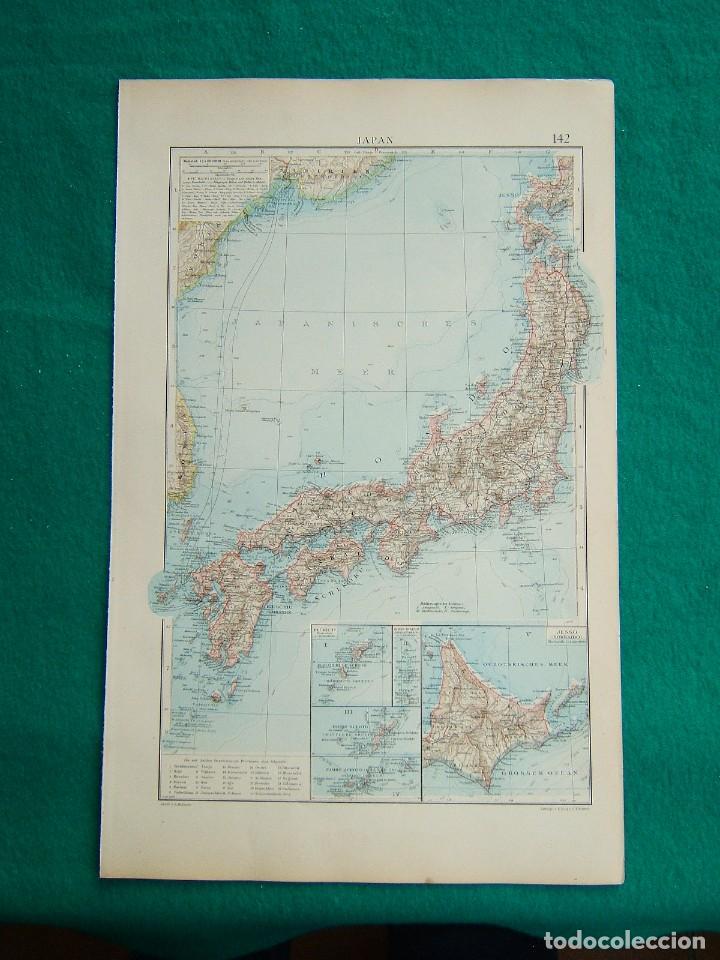 MAPA DE JAPON-JAPAN-JESSO-HOKKAIDO-RIU KIU-SAIKAIDO-TOKIO-JOKOAMA-HIROSHIMA-NAGASAKI-1899. (Arte - Cartografía Antigua (hasta S. XIX))
