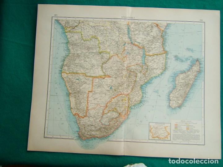 MAPA DE AFRICA MERIDIONAL-MADAGASCAR-KENIA-MOZAMBIQUE-CONGO-ANGOLA-SÜDAFRIKA-ZAMBIA-UGANDA...-1899. (Arte - Cartografía Antigua (hasta S. XIX))