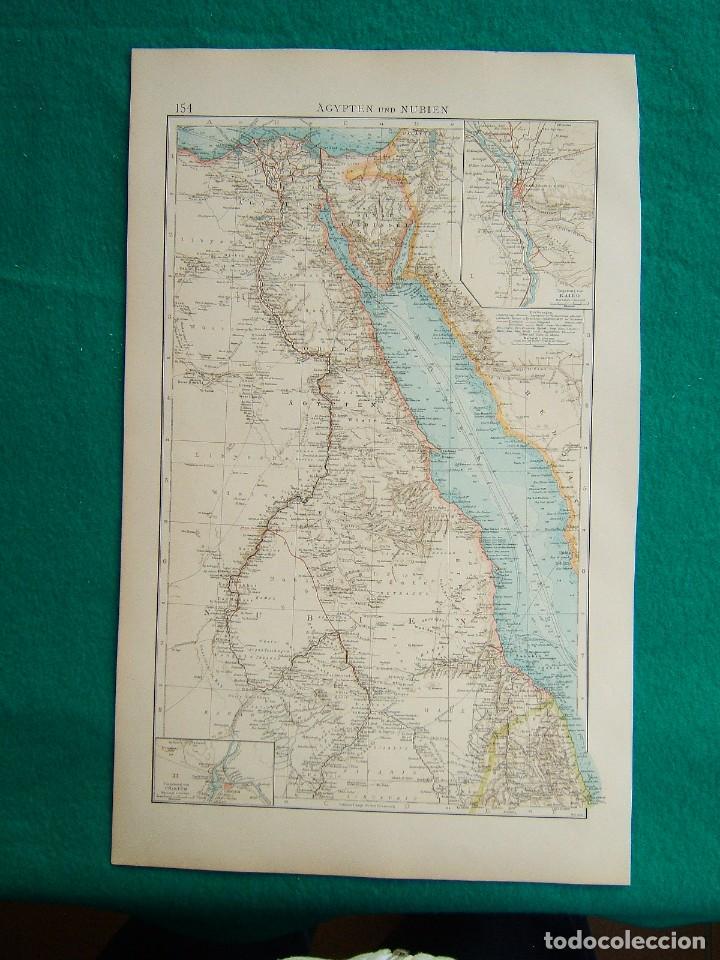 MAPA DE AFRICA-EGIPTO-NUBIA-SINAI-NILO-EL CAIRO-SUDAN-JARTUM-MAR ROJO-AGYPTEN UND NUBIEN-1899. (Arte - Cartografía Antigua (hasta S. XIX))