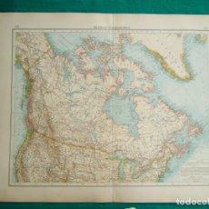 Arte: MAPA DE AMERICA DEL NORTE-ALASKA-CANADA-ESTADOS UNIDOS-GROENLANDIA-NEW YORK-ONTARIO-NIAGARA-1899. . Lote 186129606
