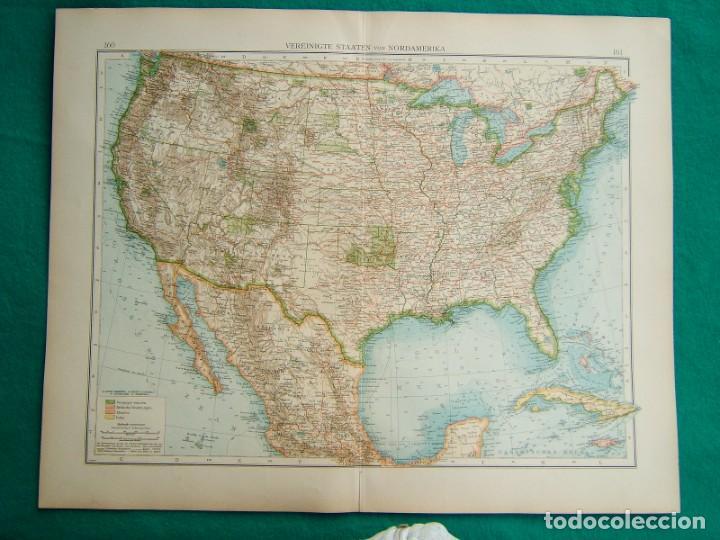 MAPA DE AMERICA-ESTADOS UNIDOS-U.S.A.-CANADA-CUBA-MEJICO-JAMAICA-CALIFORNIA-NORDAMERIKA-1899. (Arte - Cartografía Antigua (hasta S. XIX))