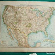 Arte: MAPA DE AMERICA-ESTADOS UNIDOS-U.S.A.-CANADA-CUBA-MEJICO-JAMAICA-CALIFORNIA-NORDAMERIKA-1899.. Lote 186129950