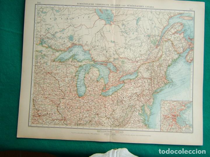 MAPA DE CANADA Y ESTADOS UNIDOS-BOSTON-NUEVA YORK-LAGOS-NIAGARA-LABRADOR-MANHATAN-CHICAGO-1899. (Arte - Cartografía Antigua (hasta S. XIX))