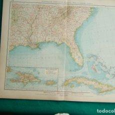 Arte: MAPA DEL SUR DE ESTADOS UNIDOS-HAITI-PUERTO RICO-REPUBLICA DOMINICANA-CUBA-CAYOS-FLORIDA-1899. . Lote 186130512