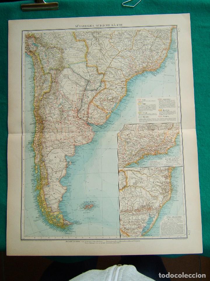 MAPA DE SUDAMERICA-ARGENTINA-CHILE-BRASIL-URUGUAY-PARAGUAY-RIO JANEIRO-ISLAS MALVINAS-1899. (Arte - Cartografía Antigua (hasta S. XIX))