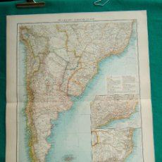 Arte: MAPA DE SUDAMERICA-ARGENTINA-CHILE-BRASIL-URUGUAY-PARAGUAY-RIO JANEIRO-ISLAS MALVINAS-1899. . Lote 186131375