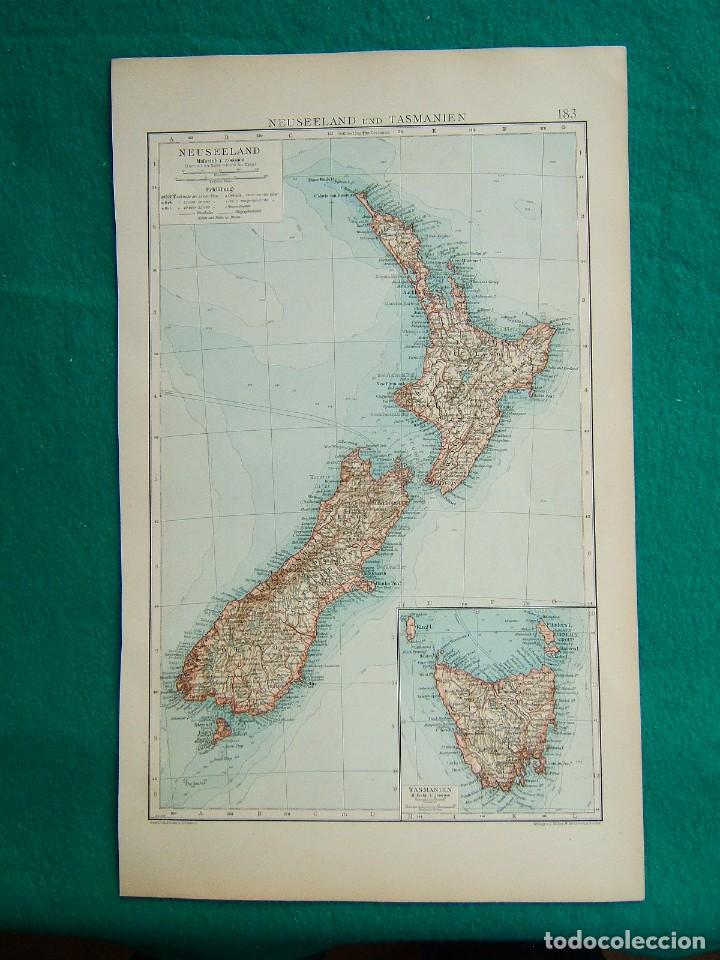 MAPA DE NUEVA ZELANDA-TASMANIA-NEUSEELAND UND TASMANIEN-WELLINGTON-AUCKLAND-MARLBOROUGH-1899. (Arte - Cartografía Antigua (hasta S. XIX))
