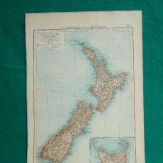 Arte: MAPA DE NUEVA ZELANDA-TASMANIA-NEUSEELAND UND TASMANIEN-WELLINGTON-AUCKLAND-MARLBOROUGH-1899. . Lote 186132466