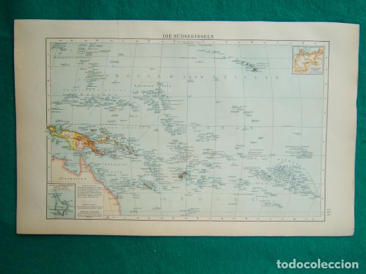 MAPA ISLAS DEL PACIFICO-DIE SUDSEEINSELN-DEUTS REICH-CAROLINAS-MARIANA-MARSHALL-NUEVA GUINEA-1899. (Arte - Cartografía Antigua (hasta S. XIX))
