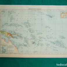 Arte: MAPA ISLAS DEL PACIFICO-DIE SUDSEEINSELN-DEUTS REICH-CAROLINAS-MARIANA-MARSHALL-NUEVA GUINEA-1899.. Lote 186133352