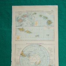 Arte: MAPA ISLAS DE LA POLINESIA-POLO SUR-POLYNESISCHE INSELGRUPPEN-KARTE DER SÜDPOLARGEBIETE-1899. . Lote 186133673