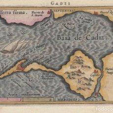 Arte: MAPA DE LA BAHÍA DE Y CIUDAD DE CÁDIZ (ANDALUCÍA, ESPAÑA), 1590. ORTELIUS/GALLE/HULSIUS. Lote 186142097