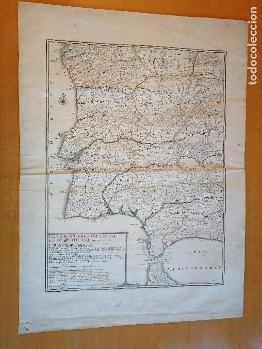LES FRONTIERES D'ESPAGNE ET DE PORTUGAL… PAR N. DE FER ...; GRAVÉE PAR P. STARCKMAN 1705 (Arte - Cartografía Antigua (hasta S. XIX))