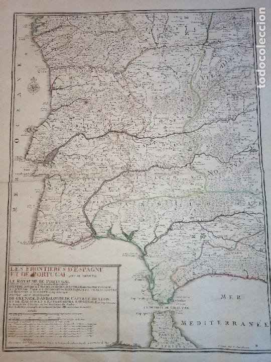 Arte: Les frontieres dEspagne et de Portugal… par N. de Fer ...; gravée par P. Starckman 1705 - Foto 3 - 186337173