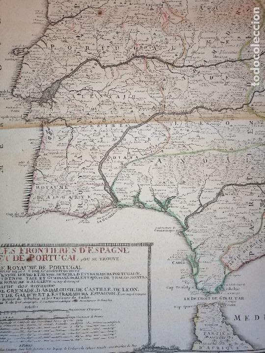Arte: Les frontieres dEspagne et de Portugal… par N. de Fer ...; gravée par P. Starckman 1705 - Foto 4 - 186337173