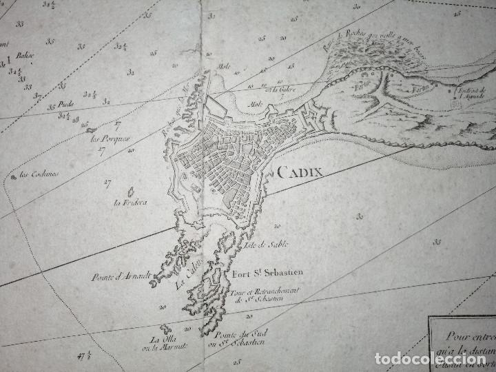 Arte: Carte Hydrographique de la Baye de Cadix… par le S. Bellin Ingenieur de la Marine. 1762 - Foto 4 - 186337470