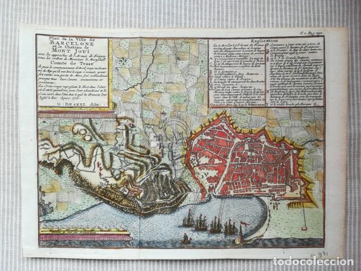 MAPA GRABADO BARCELONA ASEDIO 1706 - BRAKEL - GUERRA DE SUCESION (Arte - Cartografía Antigua (hasta S. XIX))
