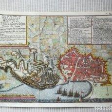 Arte: MAPA GRABADO BARCELONA ASEDIO 1706 - BRAKEL - GUERRA DE SUCESION. Lote 186401653