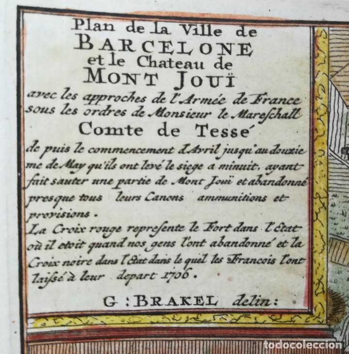 Arte: MAPA GRABADO BARCELONA ASEDIO 1706 - BRAKEL - GUERRA DE SUCESION - Foto 3 - 186401653