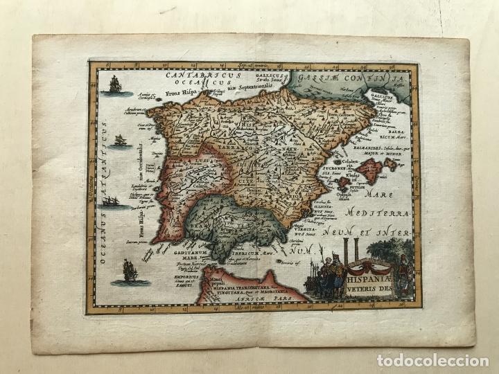 Arte: Mapa de España y Portugal antiguos, 1660. P. Cluverius - Foto 2 - 187179551