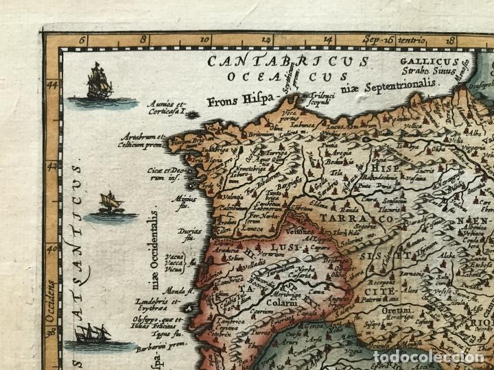 Arte: Mapa de España y Portugal antiguos, 1660. P. Cluverius - Foto 3 - 187179551