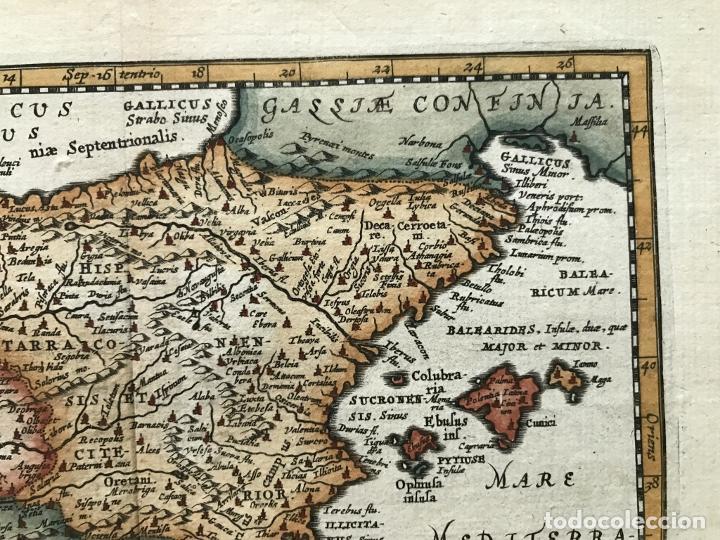 Arte: Mapa de España y Portugal antiguos, 1660. P. Cluverius - Foto 4 - 187179551