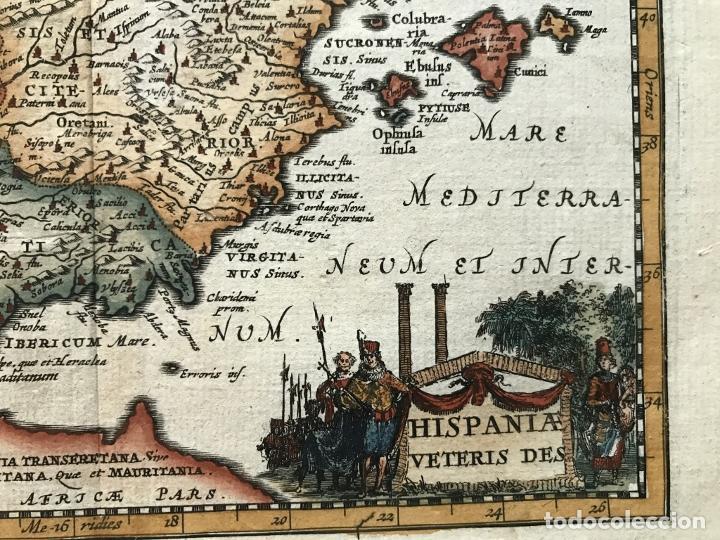 Arte: Mapa de España y Portugal antiguos, 1660. P. Cluverius - Foto 5 - 187179551