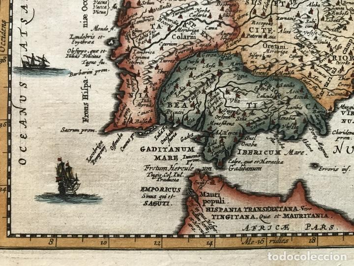 Arte: Mapa de España y Portugal antiguos, 1660. P. Cluverius - Foto 6 - 187179551