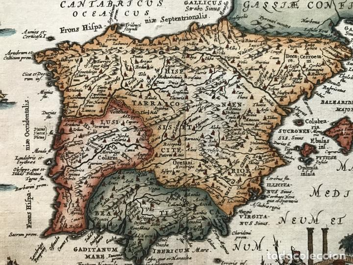 Arte: Mapa de España y Portugal antiguos, 1660. P. Cluverius - Foto 7 - 187179551