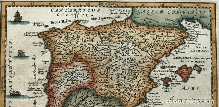 Arte: Mapa de España y Portugal antiguos, 1660. P. Cluverius - Foto 8 - 187179551