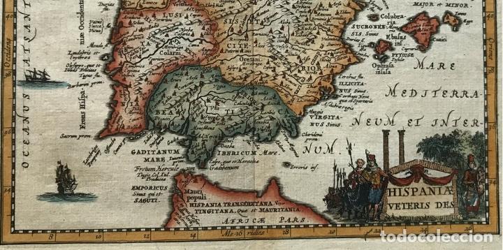 Arte: Mapa de España y Portugal antiguos, 1660. P. Cluverius - Foto 9 - 187179551