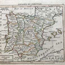 Arte: PEQUEÑO MAPA DE ESPAÑA Y PORTUGAL, HACIA 1770. ANÓNIMO. Lote 187214023