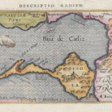 Arte: MAPA DE LA BAHÍA DE Y CIUDAD DE CÁDIZ (ANDALUCÍA, ESPAÑA), 1603. P. BERTIUS/KEERE/CLAESZ. Lote 187309063