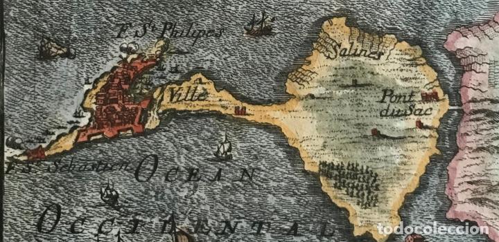 Arte: Mapa de la bahía y puerto de Cádiz (España), 1686. A. Mallet - Foto 4 - 187310987