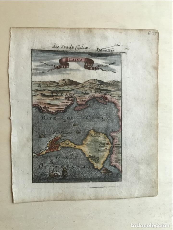 Arte: Mapa de la bahía y puerto de Cádiz (España), 1686. A. Mallet - Foto 7 - 187310987