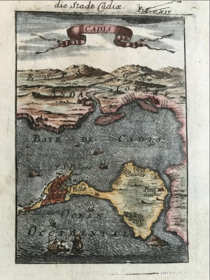 MAPA DE LA BAHÍA Y PUERTO DE CÁDIZ (ESPAÑA), 1686. A. MALLET (Arte - Cartografía Antigua (hasta S. XIX))