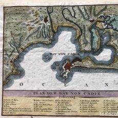Arte: MAPA DE LA BAHÍA Y PUERTO DE CÁDIZ, ANDALUCÍA (ESPAÑA, HACIA 1770. ANÓNIMO ALEMÁN. Lote 187314178