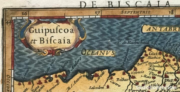 Arte: Mapa de Santander y Vizcaya (España), 1620. Merula/Hondius/Kaerius - Foto 2 - 188402841