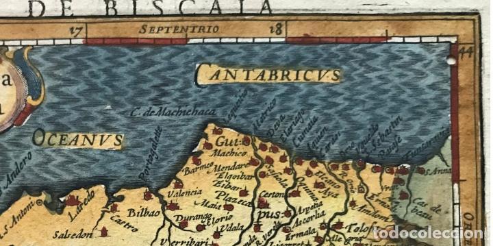 Arte: Mapa de Santander y Vizcaya (España), 1620. Merula/Hondius/Kaerius - Foto 3 - 188402841