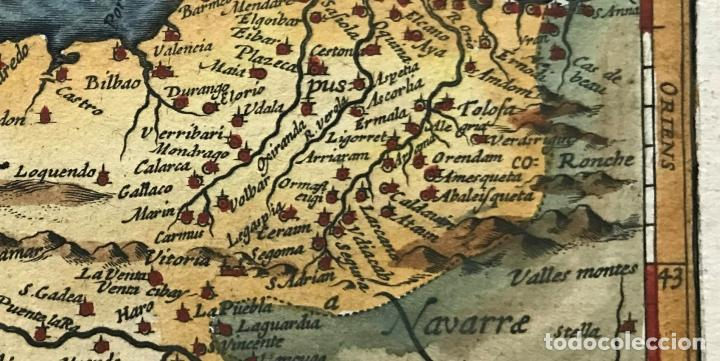 Arte: Mapa de Santander y Vizcaya (España), 1620. Merula/Hondius/Kaerius - Foto 4 - 188402841