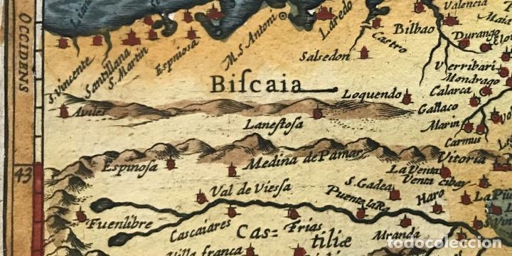 Arte: Mapa de Santander y Vizcaya (España), 1620. Merula/Hondius/Kaerius - Foto 7 - 188402841